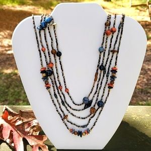 Beaded vintage necklace, 34 inches, fixed closure